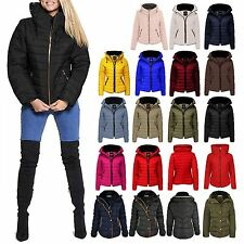 New Womens Quilted Puffer Bubble Padded Jacket Fur Collar Gold Zip Up Warm Coat