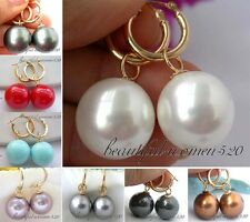 X0168 16mm round south sea shell pearl dangle earring