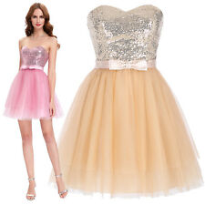 Womens Strapless Sequined Bridesmaid Ball Cocktail Evening Prom Party Mini Dress
