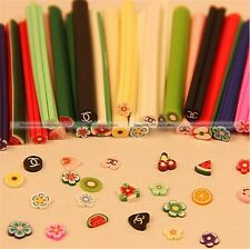 50 DIY 3D Nail Art Fimo Canes Stick Rod Polymer Clay Sticker Tips Decoration S3