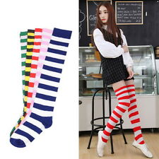 Sexy Lady Girl Thigh High Striped Over Knee Socks Cotton Stockings Good OS