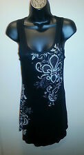 VOCAL Black Rhinestone Tank/Tunic Top Bling Fluer De Lis on Front/Back/Side*NEW*