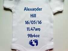 Personalised Baby grow body suit vest Boy girl make special memories great gift.