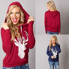 Women Fashion Deer Print Long Sleeve T shirt Hooded Hoodie Jumper Pullover