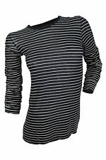 James Perse $175 NWT Black White Striped Knit Top Long Sleeve Women