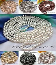 "X0183 Long 100"" 9mm round freshwater pearl necklace"