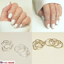USA 5Pcs Set Fashion Women Gold Silver Above Knuckle Finger Ring Band Midi Rings