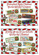 6 X MERRY CHRISTMAS TEACHER PERSONALISED CHOCOLATE WRAPPERS. XMAS/GIFT/FESTIVE.