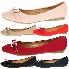 WOMENS SHOES LADIES PUMPS WORK OFFICE BALLET FLATS BOW LOW HEEL SHOES SIZE LARGE