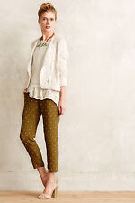 Anthropologie Goldform Trousers Size 12, Green, Gold Cropped Pants By Elevenses