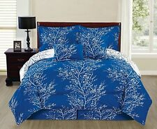 NEW Full Queen King Bed Blue White Nature Trees Reversible 6 pc Comforter Set