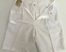 Caribbean Shorts Mens Linen Cotton Pleated Front White Size 36 40  NWT Handsome