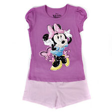 Girls Minnie Mouse Purple Pink Lavender Glitter Hearts T-Shirt Shorts 2 Pc Set