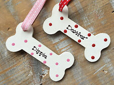 Personalised Christmas Tree Decoration Dog Doggy Pet Bone Red Pink Blue Spots