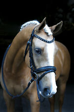 NEW Black Fancy Stitch Snaffle Bridle BLING BROWBAND Pony Cob Full W/B Free P&P