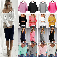 Womens Oversized Sweater Long Sleeve Loose Casual Jumper Tops Pullover Knitwear