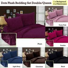 Dots Plush Bedspread / Coverlet / Blanket with Two Pillowcases DOUBLE/QUEEN -IDC