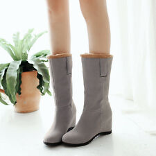Korean Winter Womens Hidden Wedge Heels Pull On Faux Suede Casual Mid Calf Boots