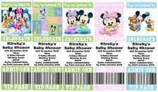 BABY SHOWER MICKEY MOUSE MINNIE MOUSE Personalised Ticket Style Invitations