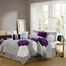 NEW Queen King Bed Purple Gray Grey White Floral Large Blooms 7 pc Comforter Set