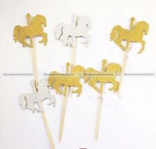 10* Carousel Party Picks Cupcake Toppers Toothpicks Food Picks Golden Silvery S5