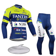 Mens Fashion Cycling Uniforms Thermal Fleece Jersey Pants Kits Shirt Tights