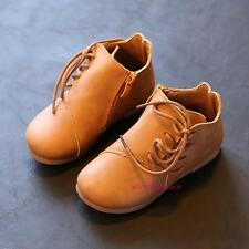 New Fall Winter Toddlers Kids Girls  Ankle Leather Boots Shoes Cute Solid Zipper