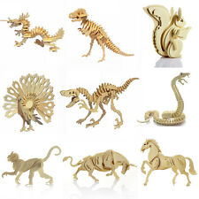 DIY 3D Jigsaw Wood Craft Kits Realistic Animal Wooden Model Puzzle Toy Gift Kids