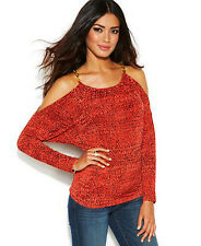 NWT MICHAEL KORS Red Orange Pattern Cold Shoulder Pullover Top Blouse L XL $89