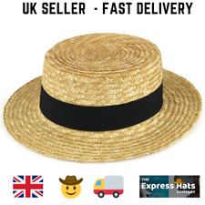 Hawkins Straw Sun Boater Hat with a Black Band FREE FAST POST 1ST CLASS