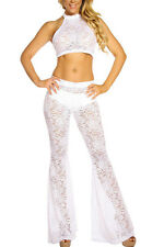 sexy new women White Lace Halter Top and Bell Bottom Pant Set club party wear