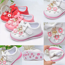 1-3Y Baby Girls Walking Shoes Soft Sole Flower Pearl PU Toddler Princess Shoes
