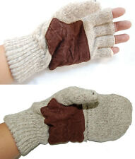 Knit Glove Fingerless or Covered Lth Crm Winter Warm Gloves Fishing Glove