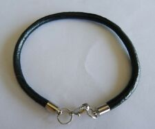 10pcs black genuine leather bracelets w lobster clasp 4mm fit charm beads