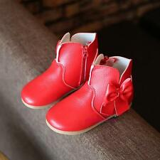 New Toddlers Kids Girls Mid-top Leather Boots Shoes Fall Winter Bow Princess