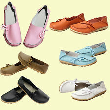 Fashion Women Leather Slip on Flat Shoes Moccasin Bow Loafer Boat Shoes Hot