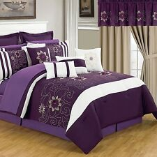 NEW Queen King Bed 24 pc Purple White Black Comforter Pillows Sheets Window Set