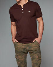Abercrombie & Fitch Mens T-Shirt Iconic Henley L or XL Burgundy NWT