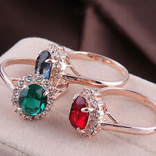 Top Quality Women 18k Rose Gold Plated Emerald CZ Crystal Jewelry Finger Ring