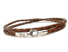 MENS LEATHER BRACELET-BRAIDED DOUBLE WRAP LIGHT BROWN-STERLING SILVER CLASP