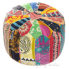 "LARGE SELECTION - 16"" COLORFUL ROUND KANTHA OTTOMAN POUFFE COVER Indian Decor"