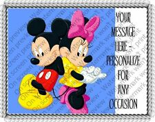 MICKEY & MINNIE - SHOULDER TO SHOULDER EDIBLE IMAGE CAKE TOPPER DECORATION! CUTE
