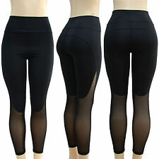 Women Sexy Mesh Splice Sports Fitness Yoga Stretchy Leggings Tight Pants Trouser