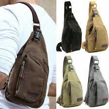 Men Boy Small Canvas Military Messenger Shoulder Travel Hiking Bag Backpack MC