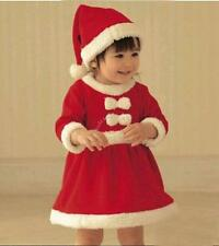Toddler Baby Girls Christmas Claus Santa Dress + Hat Outfit Costume Xmas Clothes