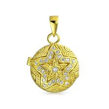 Bling Jewelry Gold Plated CZ Vintage Style Star Locket Pendant 925 Silver