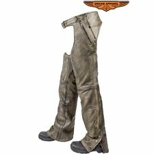 Mens Distressed Brown Genuine Leather Motorcycle Chaps & Leather Belt