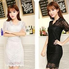Lady Women's Sexy V-neck Short Sleeve Lace Stretch Casual Party Mini Dress HOT!