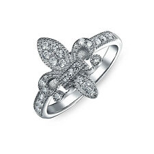 Bling Jewelry 925 Sterling Silver Pave CZ Vintage Style Fleur de Lis Ring