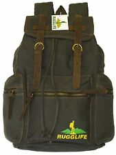 RUGGLIFE Vintage Canvas Backpack (Leather, Military, Rucksack, Hiking, Daypack)